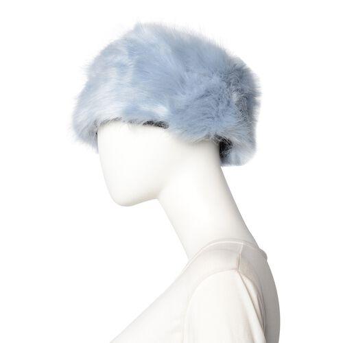 3 Piece Set - Faux Fur Hat, Scarf and Cuff Bracelet - Blue
