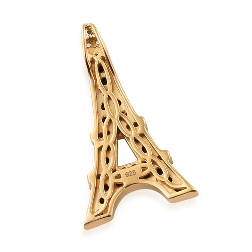 Boi Ploi Black Spinel (Rnd), Natural Cambodian Zircon Eiffel Tower Pendant in 14K Gold and Platinum Overlay with Black Plating Sterling Silver 1.250 Ct.