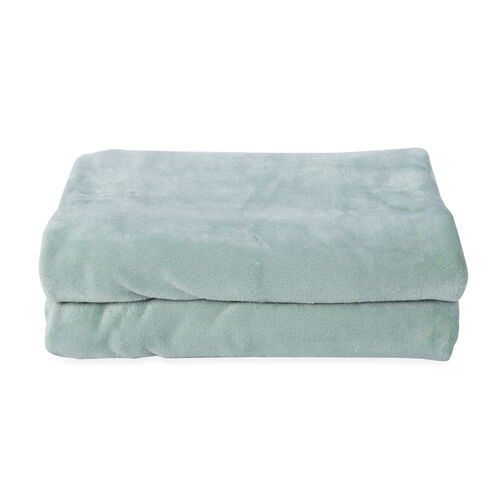 One Time Deal - Supersoft Coral Fleece Blanket 150x200 cm - Mint Green