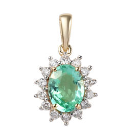 1.40 Ct Boyaca Colombian Emerald and Diamond Halo Pendant in 14K Yellow Gold