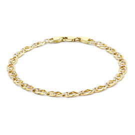Close Out Deal Double Curb Bracelet in 9K Yellow and White Gold 7.25 Inch