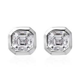 J Francis Made With SWAROVSKI ZIRCONIA Solitaire Stud Earrings in Platinum Plated Silver