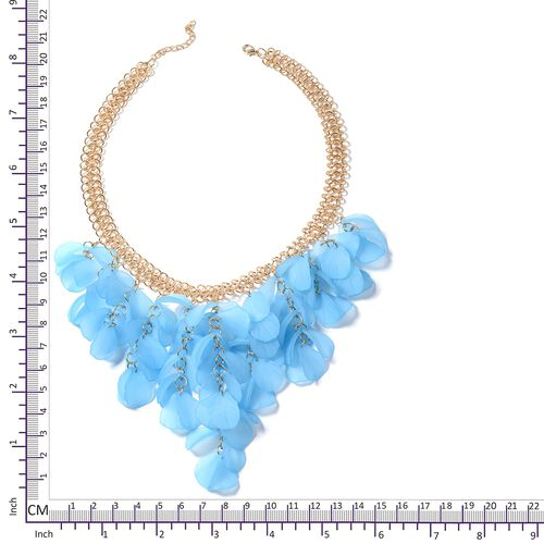 Blue Flower Petals BIB Necklace (Size 20) in Gold Bond.
