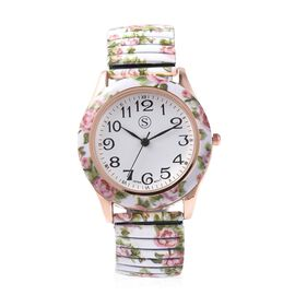 STRADA Japanese Movement Water Resistant Floral Printed Watch in Rose Gold Tone - White