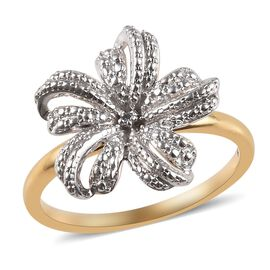 Diamond Floral Ring in 14K Gold Plated Sterling Silver