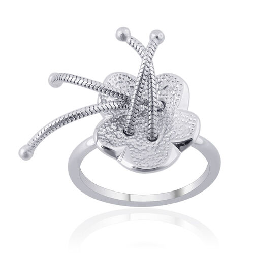 RACHEL GALLEY Lattice Floral Ring in Rhodium Plated Sterling Silver