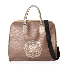 Coffee Colour Travel Bag with Detachable Shoulder Strap and Zipper Closure (Size 45x36x15 Cm)
