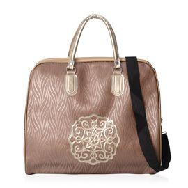 Coffee Colour Travel Bag with Detachable Shoulder Strap and Zipper Closure (Size 45x36x15 Cm)