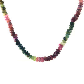 One Time Mega Deal-Rainbow Tourmaline Beads Necklace (Size 17 with 1 inch Extender) in Yellow Gold Overlay Sterling Silver 65.000 Ct