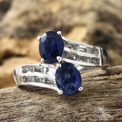 Masoala Sapphire (Ovl), White Topaz Ring in Platinum Overlay Sterling Silver 3.750 Ct.