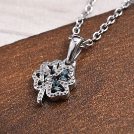 Blue and White Diamond Leaf Pendant with Chain (Size 18) in Platinum Overlay Sterling Silver 0.04 Ct