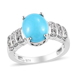 Arizona Sleeping Beauty Turquoise (Ovl), Natural Cambodian Zircon Ring in Platinum Overlay Sterling