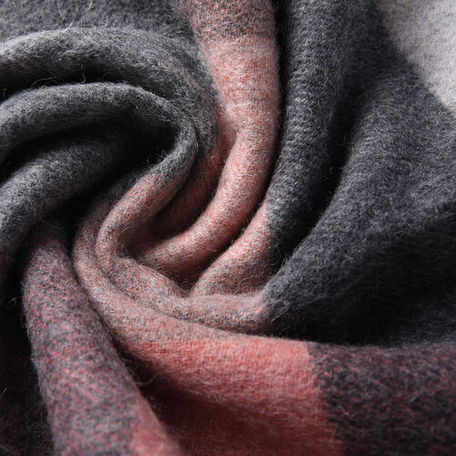 Plaid Pattern Wool Scarf with Fringes (Size 30x170+8cm) - Black, Pink and Grey