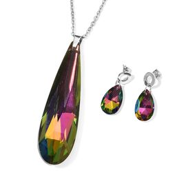 2 Piece Set Simulated Mystic Topaz Drop Pendant with Chain and Earrings 20 Inch