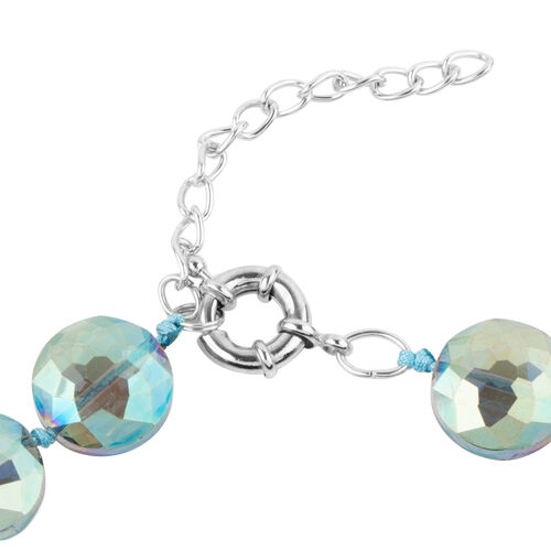 Simulated Mercury Mystic Topaz Coin Beads Necklace (Size 21) in Silver Bond.