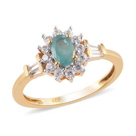 Grandidierite and Natural Cambodian Zircon Ring in 14K Gold Overlay Sterling Silver 1.00 Ct.