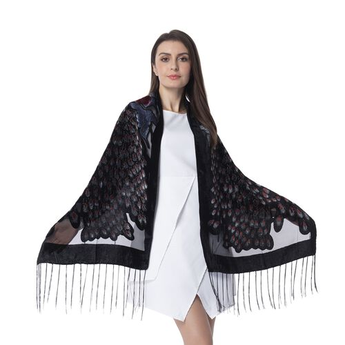 Designer Inspired- Black, Silver Grey and Red Colour Peacock Pattern Scarf with Tassels (Size 160x50 Cm)