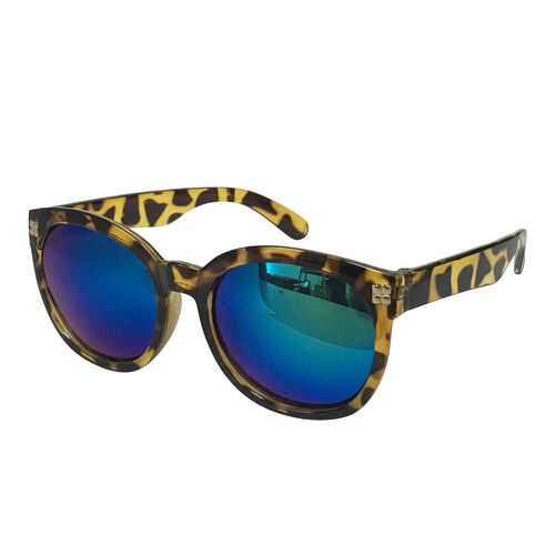 Eyecatcher Black Frame Sunglasses with Mirror Finish Lens