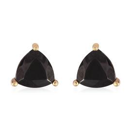 Elite Shungite (Trl) Stud Earrings in 14K Gold Overlay Sterling Silver 1.500 Ct.