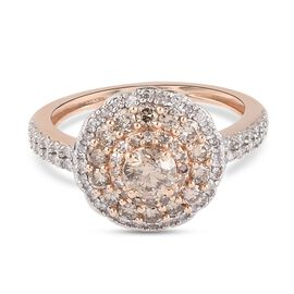 9K Rose Gold SGL Certified Natural Champagne Diamond and White Diamond Cluster Ring 1.00 Ct.