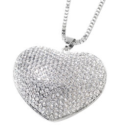 Austrian Crystal Heart Necklace in Silver Plated 29 with 2 inch Extender