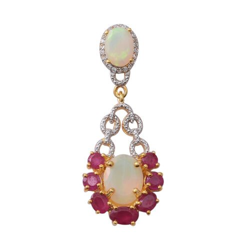 Designer Inspired-African Ruby (Ovl), Ethiopian Welo Opal and Natural Cambodian White Zircon Pendant in Rhodium and Yellow Gold Overlay Sterling Silver 3.860 Ct.