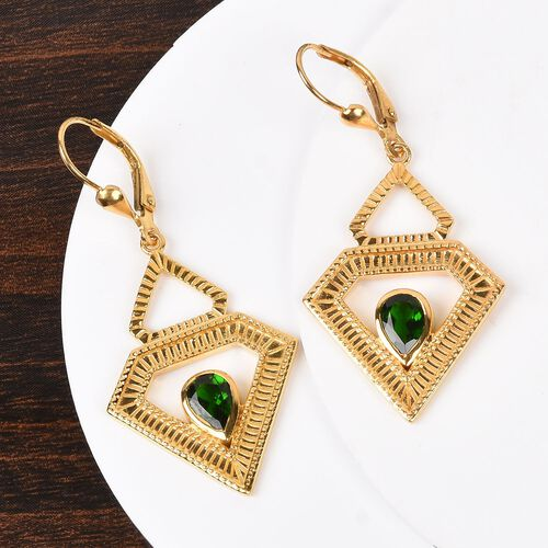 Russian Diopside Lever Back Earrings in 14K Gold Overlay Sterling Silver 1.50 Ct, Silver wt 6.00 Gms