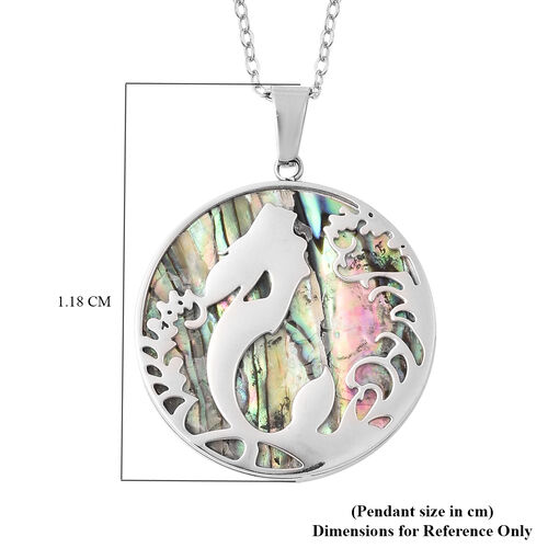 Abalone Shell Mermaid Pendant with Chain (Size 20) in Stainless Steel