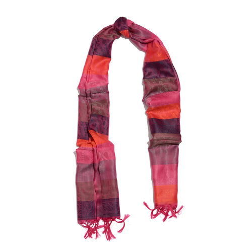 Pink and Multi Colour Paisley Pattern Jacquard Scarf with Tassels (Size 180x50 Cm)