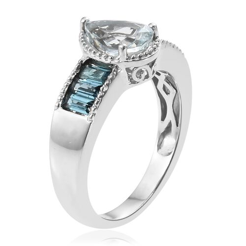One Time Deal-Espirito Santo Aquamarine (Pear 9x7 mm), Rare Monte Belo Indicolite Ring in Platinum Overlay Sterling Silver 2.000 Ct.