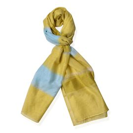 Designer Inspired-Yellow and Blue Colour Stripe Pattern Shawl (Size 170x70 Cm)