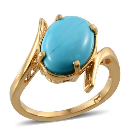 Arizona Sleeping Beauty Turquoise (Ovl) Solitaire Ring in 14K Gold Overlay Sterling Silver 4.250 Ct.