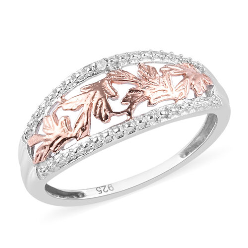 Diamond and Leaf Ring in Platinum and Rose Gold Overlay Sterling Silver