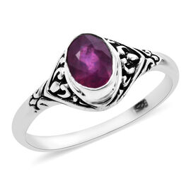 Royal Bali Collection - African Ruby (Ovl 7x5mm) Ring in Sterling Silver