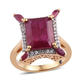 GP African Ruby (Oct 11x9 mm), Natural Cambodian Zircon and Blue Sapphire Ring in 14K Gold Overlay S