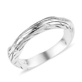 Platinum Overlay Sterling Silver Branch Design Ring, Silver wt 3.00 Gms