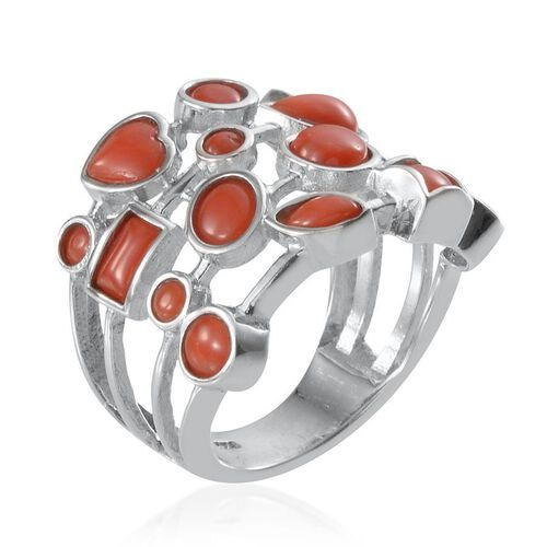 Mediterranean Coral (Hrt) Ring in Platinum Overlay Sterling Silver  3.080 Ct.
