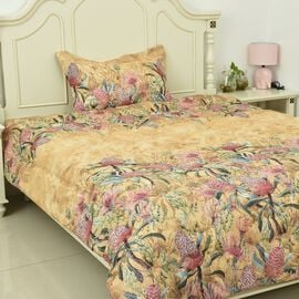 3 Piece Set Floral Printed Comforter, Fitted Sheet and Pillow Case - Single Size