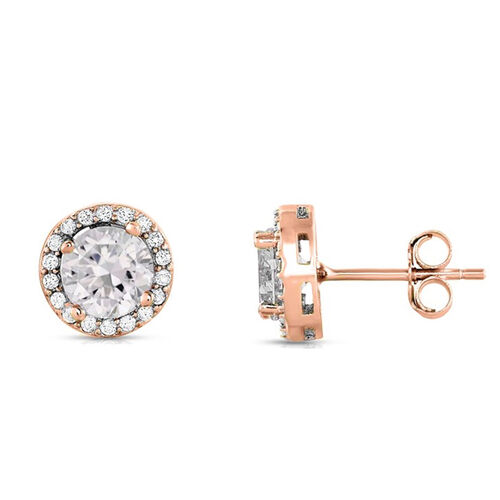ELANZA Simulated Diamond Stud Earrings (with Push Back) in Rose Gold Overlay Sterling Silver