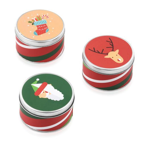Home Decor - Set of 3 Can Candle With Spiced Cranberry Fragnance (Size 11.5x4.25x1.75 )