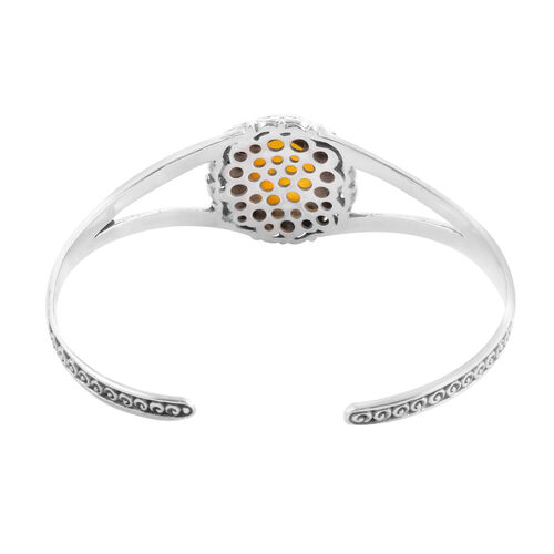 Royal Bali Collection - Yellow Jade Cuff Bangle (Size 7.5) in Sterling Silver 14.28 Ct, Silver wt 21.45 Gms