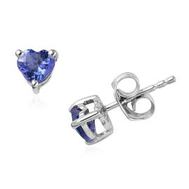 9K White Gold 1 Carat AA Tanzanite Heart Solitaire Stud Earrings with Push Back