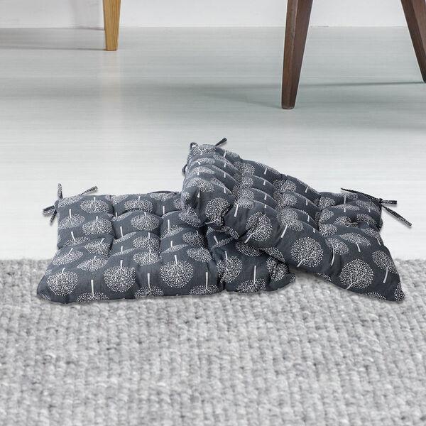 Set of 2 - Tree Pattern Square Chair Pad (Size 40x40cm) - Dark Grey