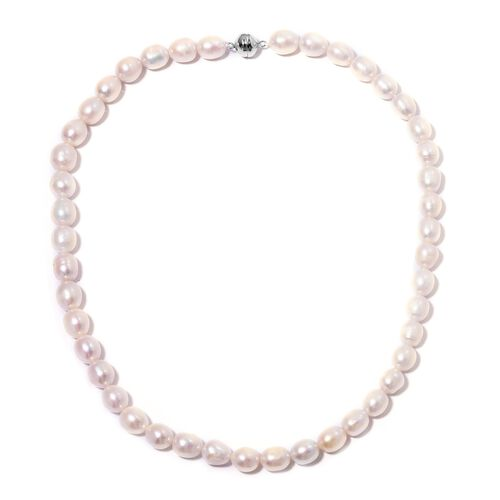 Designer Inspired- Fresh Water White Pearl Necklace (Size 20) in Rhodium Overlay Sterling Silver with Magnetic Clasp
