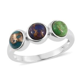 Mojave Blue Turquoise (Rnd), Mojave Purple Turquoise and Mojave Green Turquoise Trilogy Ring in Sterling Silver 2.500 Ct.