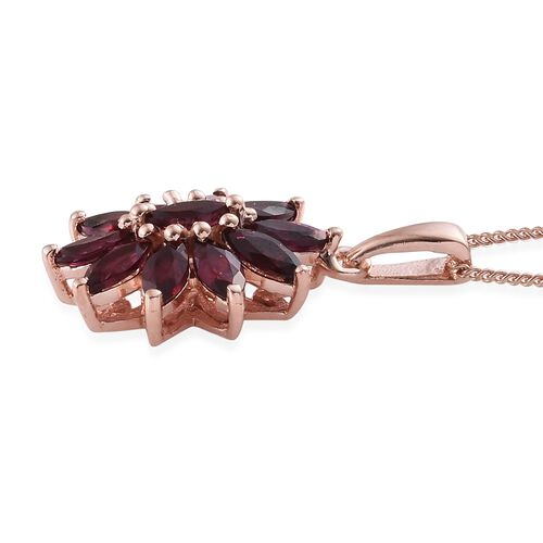 Arizona Anthill Garnet (Mrq) Floral Pendant With Chain in Rose Gold Overlay Sterling Silver 2.000 Ct.