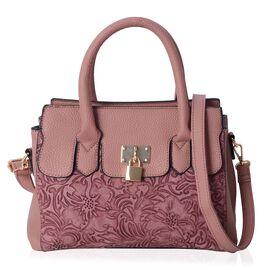 Vintage Rose Tote Bag with External Zipper Pocket and Removable Shoulder Strap (Size 30x22x11 Cm)