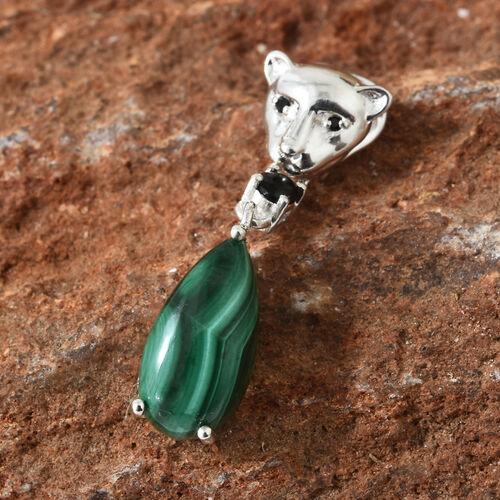 Malachite (Pear), Boi Ploi Black Spinel Tiger Pendant in Sterling Silver