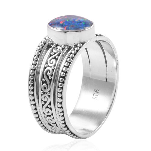 Limited Edition- Bali Legacy Collection - Australian Boulder Opal (Ov 10x8 mm) Ring in Sterling Silver.