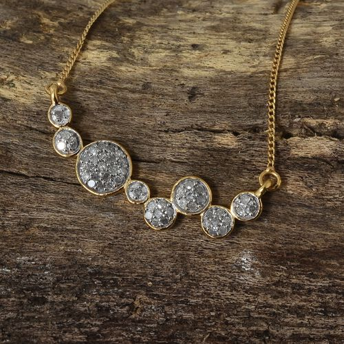 Diamond (Rnd) Necklace with Chain (Size 18) in 14K Yellow Gold and Silver Overlay Sterling Silver 0.300 Ct.